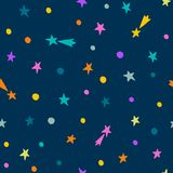 Hand drawn seamless pattern. Night sky with falling stars. Ideal for kids textile print, wallpapers, wrapping paper Royalty Free Stock Photos