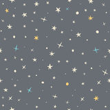 Hand drawn seamless pattern with night sky and stars Royalty Free Stock Photography