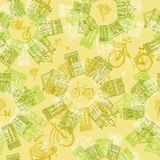 Hand drawn seamless pattern with old houses and cycles Stock Photos