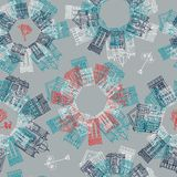 Hand drawn seamless pattern with old houses. Vector seamless pattern with hand drawn vintage colorful houses Royalty Free Stock Image