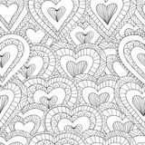Hand drawn Seamless pattern of ornamental hearts Stock Photos
