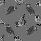Hand drawn seamless pattern with owls. Black and white doodle birds drawn on the tile texture. Template for wrapping, scrapbook paper, web background and Royalty Free Stock Photo