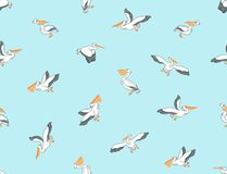Hand drawn seamless pattern with pelicans. Vector background. Hand drawn seamless pattern with pelicans. Vector background with birds Royalty Free Stock Photography