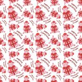 Hand drawn seamless pattern with a pig cartoon character in Santa`s hat and with bow. stock illustration