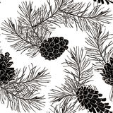 Hand-Drawn seamless pattern with pine cones and branches of coniferous evergreen tree Stock Image