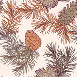 Hand-Drawn seamless pattern with pine cones and branches of coniferous evergreen tree Royalty Free Stock Images