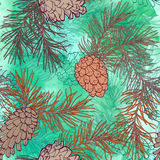 Hand-Drawn seamless pattern with pine cones and branches of coniferous evergreen tree. Design decor background. Card. Illustration Stock Photo