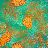 Hand-Drawn seamless pattern with pine cones and branches of coniferous evergreen tree. Design decor background. Card. Illustration Royalty Free Stock Photos