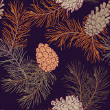 Hand-Drawn seamless pattern with pine cones and branches of coniferous evergreen tree Stock Photos