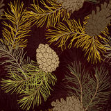 Hand-Drawn seamless pattern with pine cones and branches of coniferous evergreen tree Royalty Free Stock Photos
