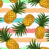 Hand drawn seamless pattern with pineapple in Stock Images