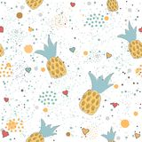 Hand Drawn Seamless Pattern with pineapples and hearts. Great for wedding cards, postcards, t-shirts, bridal invitations, brochures, posters, gift wrapping vector illustration
