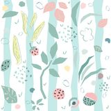 Hand Drawn Seamless Pattern with plants and berries. Artistic Cr Royalty Free Stock Image