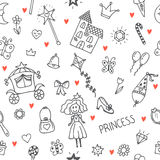 Hand drawn seamless pattern with princess girl doodle design ele Royalty Free Stock Photography