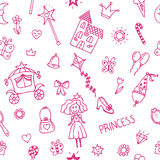 Hand drawn seamless pattern with princess girl doodle design ele Stock Images