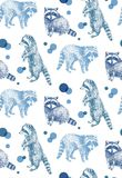 Hand drawn seamless pattern with raccoons. On white background Stock Image