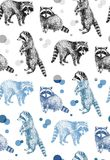 Hand drawn seamless pattern with raccoons. On white background Stock Photos