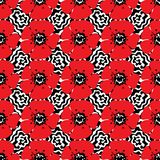 Hand drawn seamless pattern of red poppies on waves background. Vector illustration. stock illustration