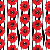 Hand drawn seamless pattern of red poppies and stylized strips o vector illustration