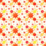 Hand-drawn seamless pattern. Red sun, yellow stars and planets on a white background stock illustration