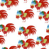 Hand drawn  seamless pattern with rooster. 2017 is the year of Red Fire Chicken on Chinese zodiac. Can use them for greeting card, prints, calendar, poster Royalty Free Stock Photos