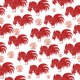 Hand drawn seamless pattern with rooster. 2017 is the year of Red Fire Chicken on Chinese zodiac. Can use them for greeting card, prints, calendar, poster stock illustration