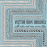 10 hand drawn seamless pattern Rope brushes Stock Photography