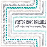 6 hand drawn seamless pattern Rope brushes. Vector set of 6 hand drawn decorative seamless pattern Rope brushes with outer and inner corner tiles. Endless Stock Photo