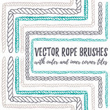 6 hand drawn seamless pattern Rope brushes Stock Images