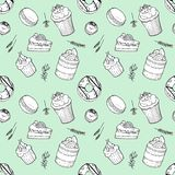 Hand drawn seamless pattern set of cakes, donut, macaroon, candy, muffins with herbs on mint background. Elements for cafe and restaurant menu design stock illustration