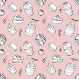 Hand drawn seamless pattern set of cakes, donut, macaroon, candy, muffins with herbs on pink background. Elements for cafe and restaurant menu design stock illustration