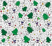 Hand drawn seamless pattern with set of different elements. For winter time. stock illustration