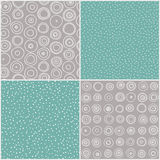 Hand Drawn Seamless Pattern Set Stock Photo