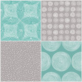 Hand Drawn Seamless Pattern Set Royalty Free Stock Image