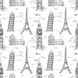 Hand drawn seamless pattern with sights of Europe Stock Image