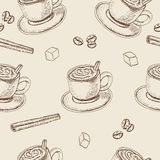 Hand Drawn seamless pattern with Sketch Coffee Cup Vector Illustration Stock Photography