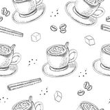 Hand Drawn seamless pattern with Sketch Coffee Cup Vector Illustration Royalty Free Stock Photo