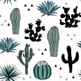 Hand drawn seamless pattern with sketch saguaro, blue agave, and prickly pear. vector illustration