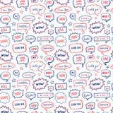 Hand drawn seamless pattern of speech bubbles Stock Image