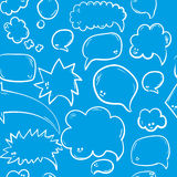 Hand drawn seamless pattern with speech or thought bubbles. Vector background Stock Image