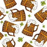 Hand drawn seamless pattern with St. Patrick's day elements. Vector sketch illustration.  Royalty Free Stock Images