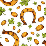 Hand drawn seamless pattern with St. Patrick's day elements. Vector sketch illustration.  Royalty Free Stock Photography