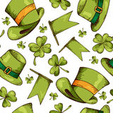 Hand drawn seamless pattern with St. Patrick's day elements. Vector sketch illustration Royalty Free Stock Photos