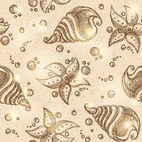 Pattern of starfishes and shells, vector eps 10 Royalty Free Stock Images