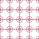 Hand drawn seamless pattern of stylized black cells and red circles on a white background. royalty free illustration