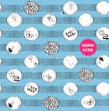 Hand-drawn seamless pattern with summer doodles Stock Photo