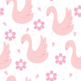 Hand drawn seamless pattern with swan. vector illustration stock photo