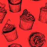 Hand drawn seamless pattern - Sweet cupcakes. Sketch background. Vector Stock Photography