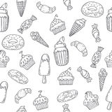 Hand drawn seamless pattern with sweets, cupcakes, bakery, cakes Royalty Free Stock Photo