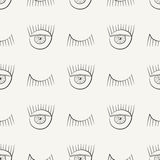 Hand drawn seamless pattern with symbols of open and closed eye. Modern stylish linear decorative ornament. Royalty Free Stock Images